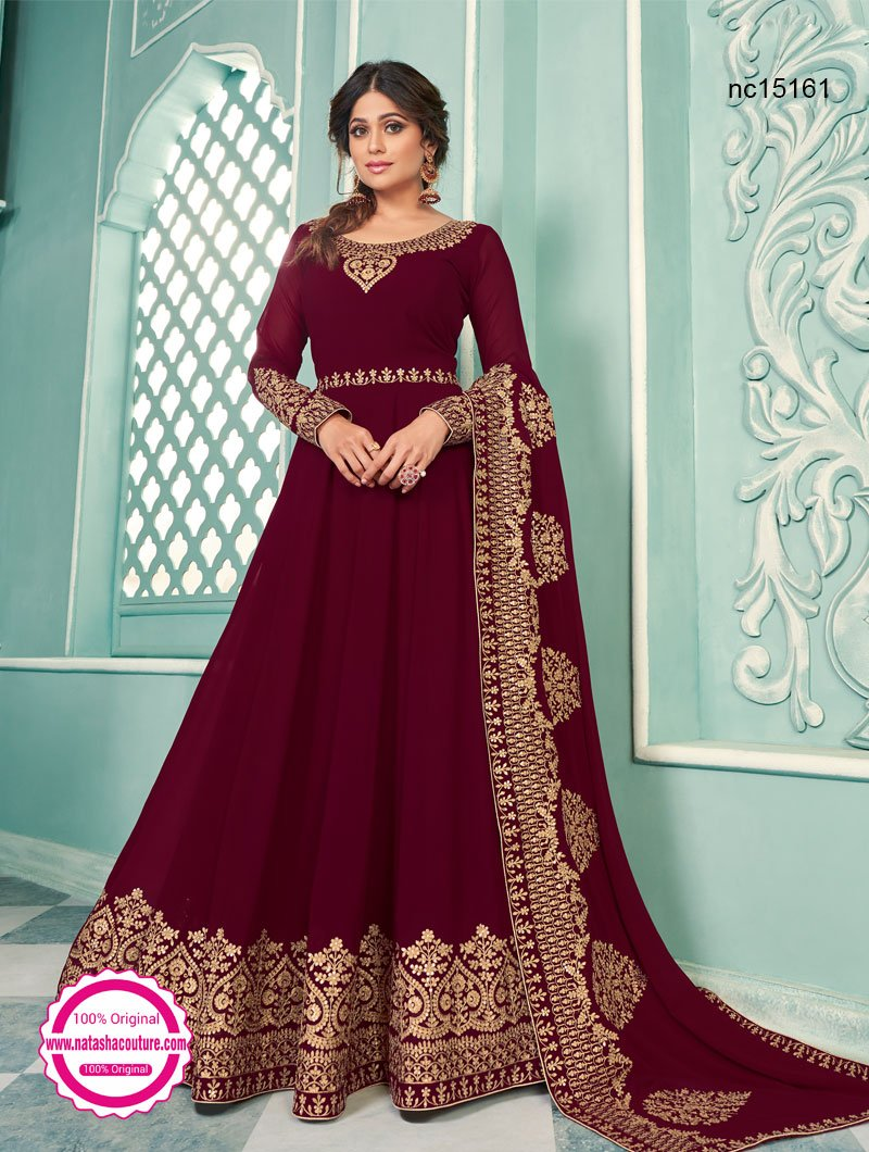Shamita Shetty Maroon Georgette Anarkali Suit NC15161