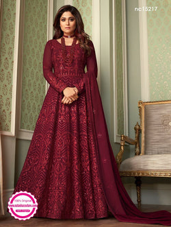 Shamita Shetty Maroon Georgette Anarkali Suit NC15217