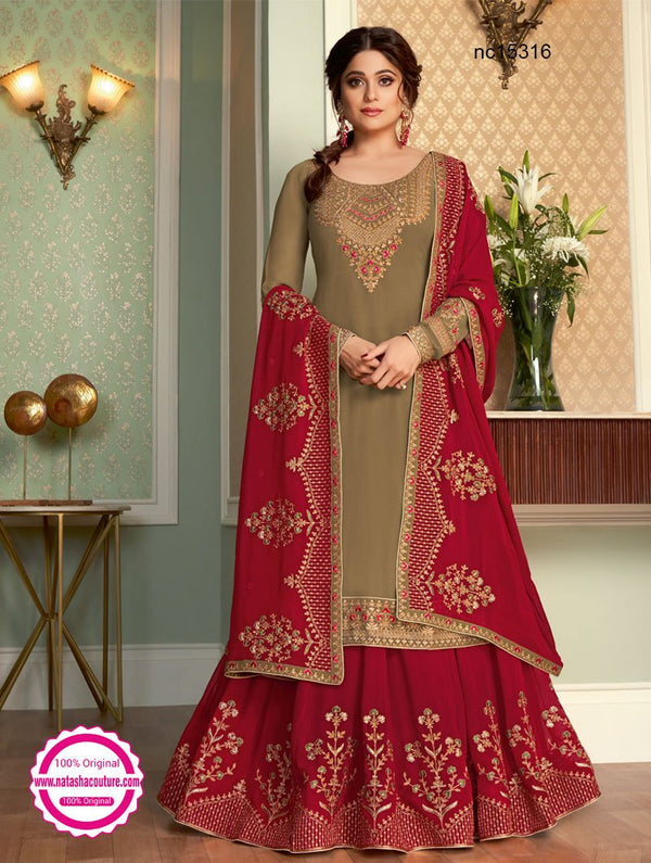 Shamita Shetty Pale Greenish Beige & Red Georgette Lehenga & Long Top NC15316