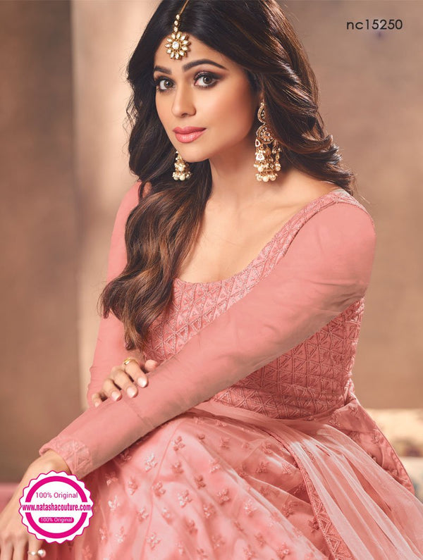 Shamita Shetty Pink Net Anarkali Suit NC15250