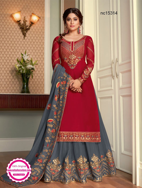 Shamita Shetty Red & Grey Georgette Lehenga & Long Top NC15314