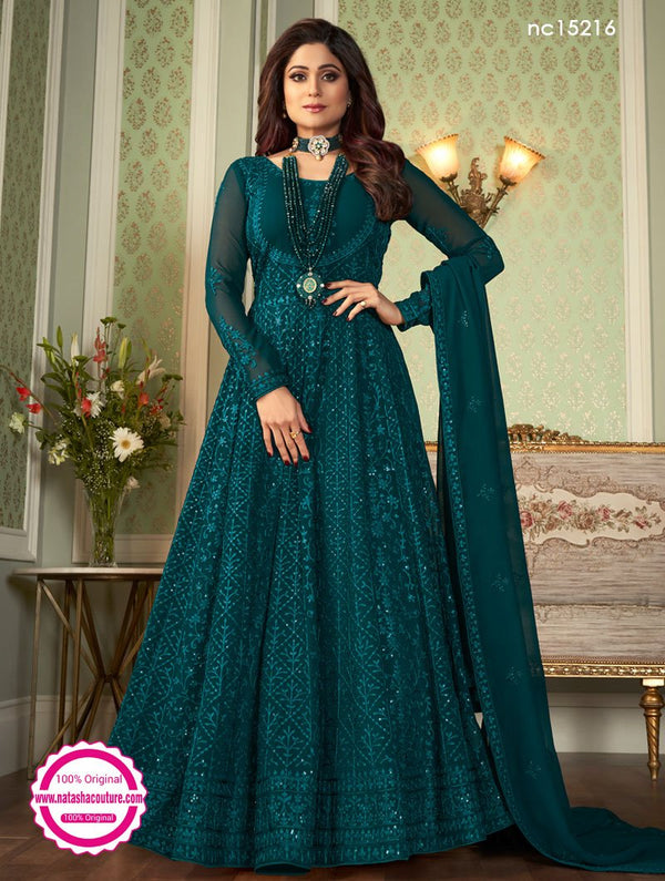 Shamita Shetty Teal Green Georgette Anarkali Suit NC15216