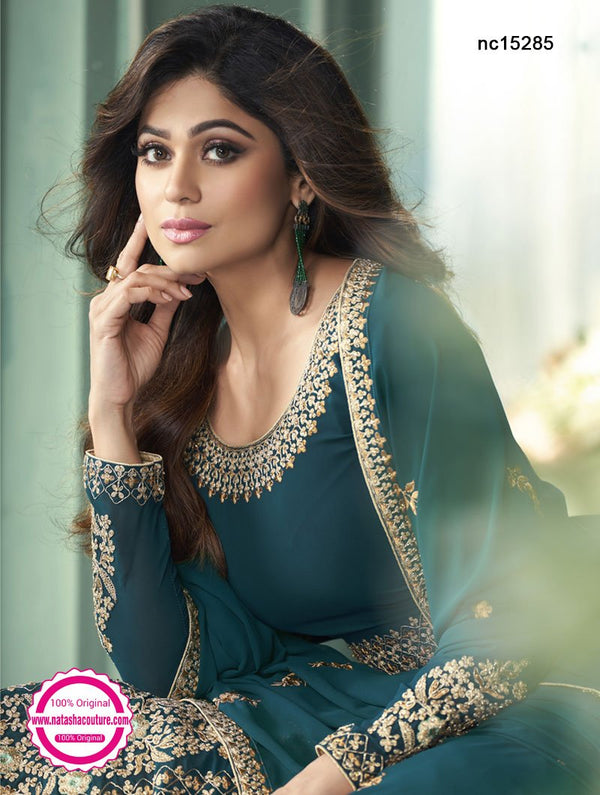Shamita Shetty Teal Green Georgette Anarkali Suit NC15285