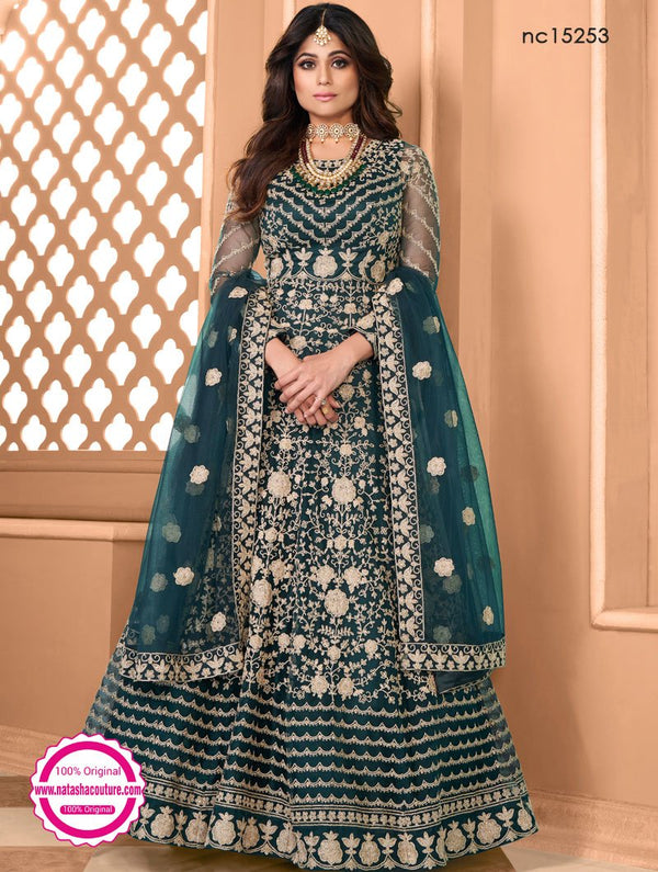Shamita Shetty Teal Green Net Anarkali Suit NC15253