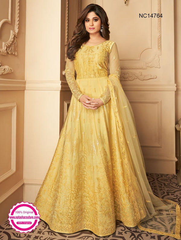 Shamita Shetty Yellow Net Anarkali Suit NC14764