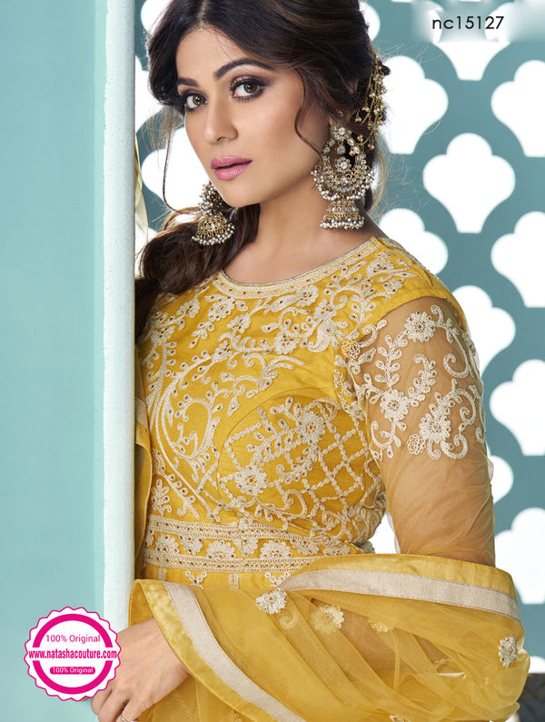 Shamita Shetty Yellow Net Lehenga & Kurta NC15127