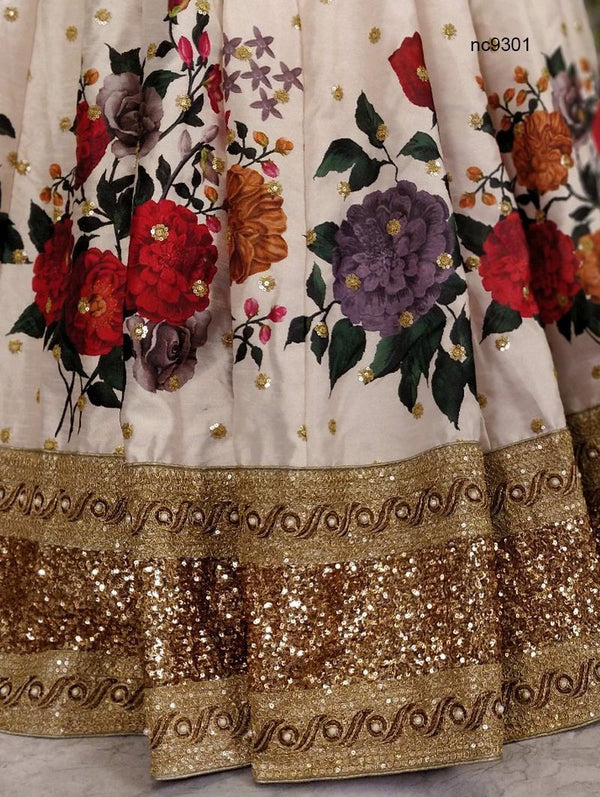 Sonam Kapoor Cream Silk Floral Bollywood Lehenga Choli NC9301