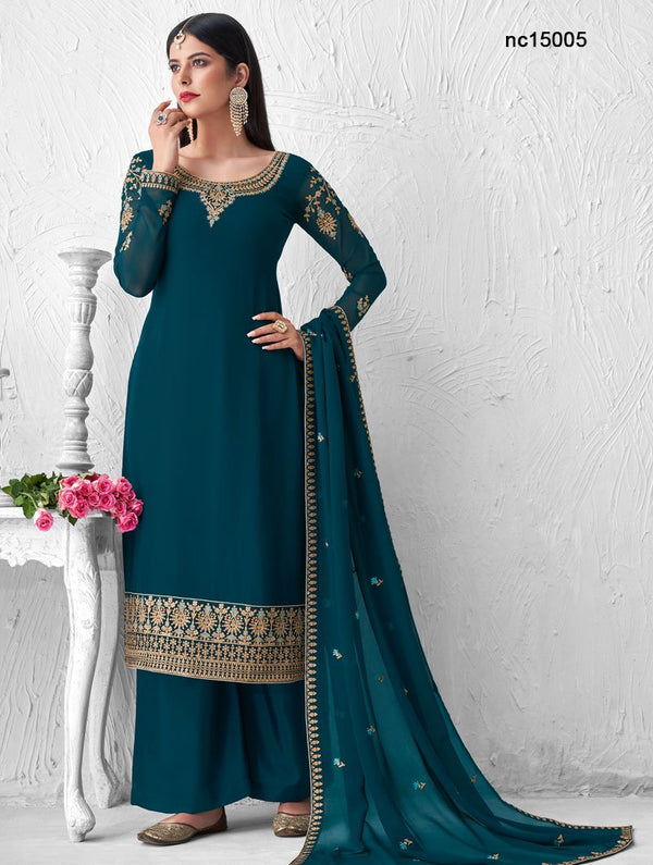 Teal Blue Georgette Palazzo Suit NC15005
