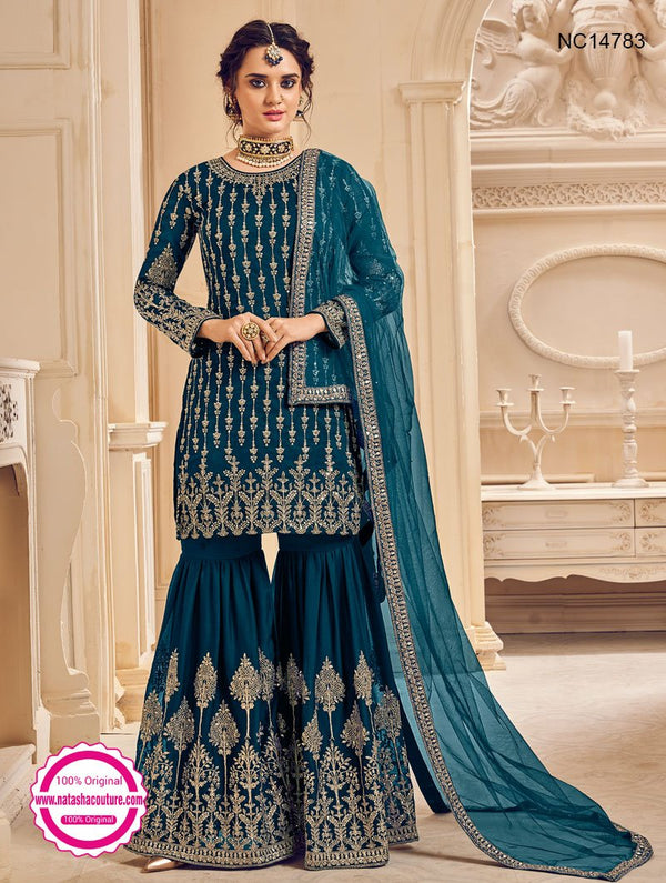 Teal Blue Georgette Sharara Pants Suit NC14783