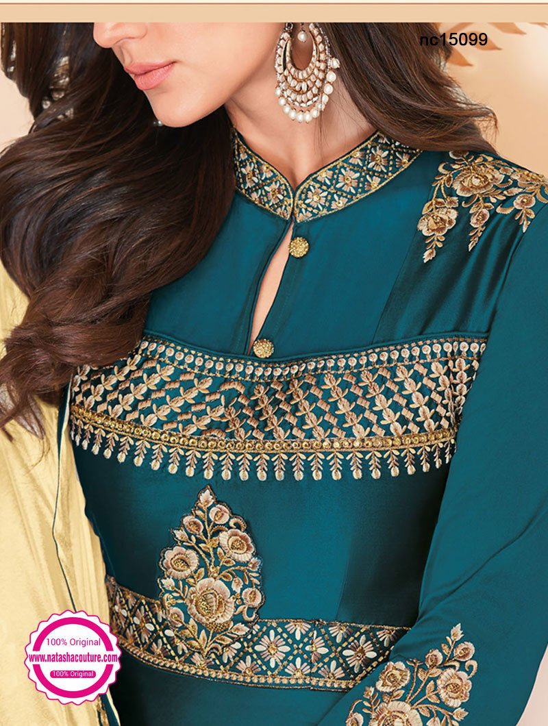 Teal Blue Silk Anarkali Suit NC15099