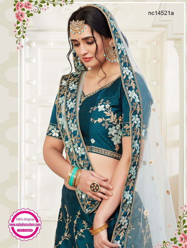 Teal Blue Silk Bridal Lehenga Choli NC14521A