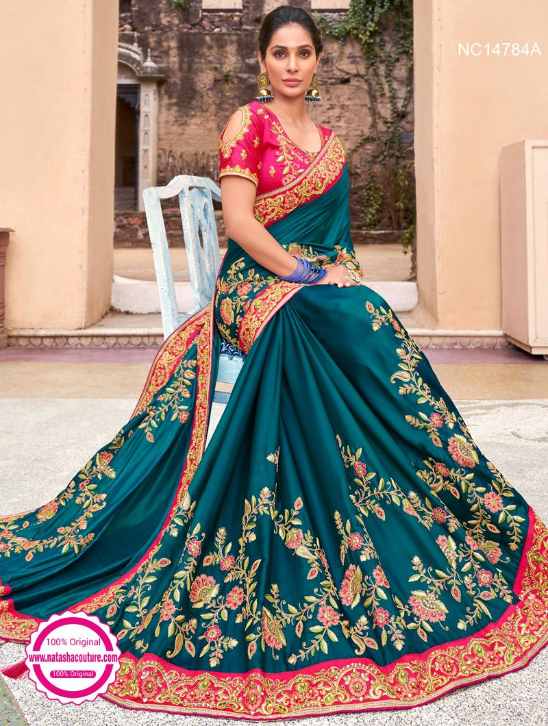 Teal Blue Silk Satin Saree NC14784A
