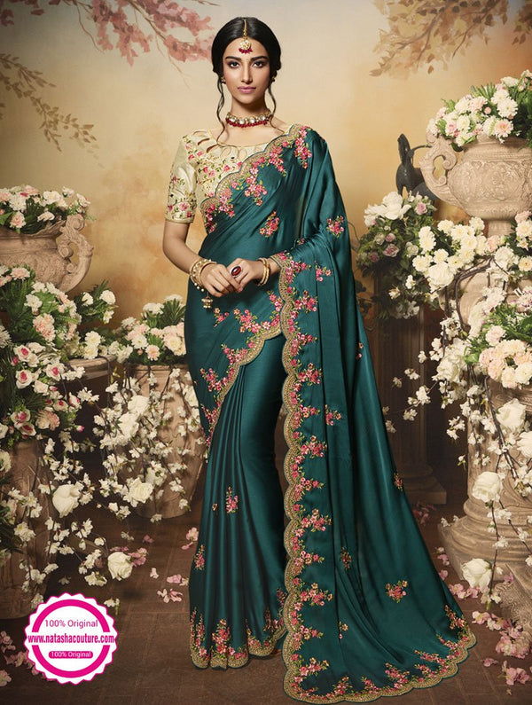 Teal Green Chiffon Satin Saree NC14922