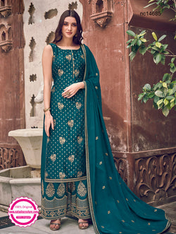 Teal Green Jacquard Palazzo Suit NC14685