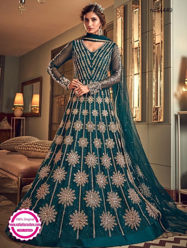 Teal Green Net Anarkali Suit NC14449