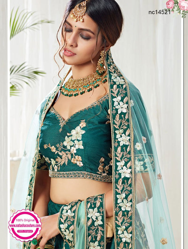 Teal Green Silk Bridal Lehenga Choli NC14521