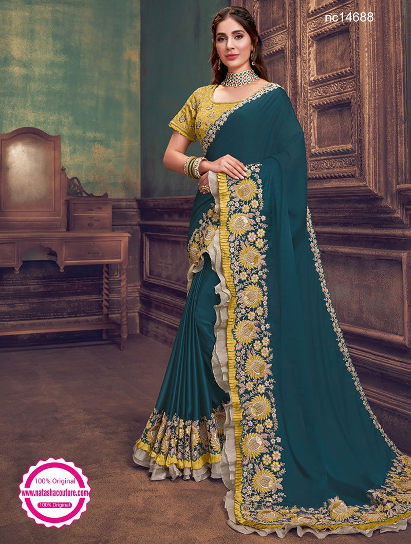 Teal Green Silk Georgette Saree NC14688