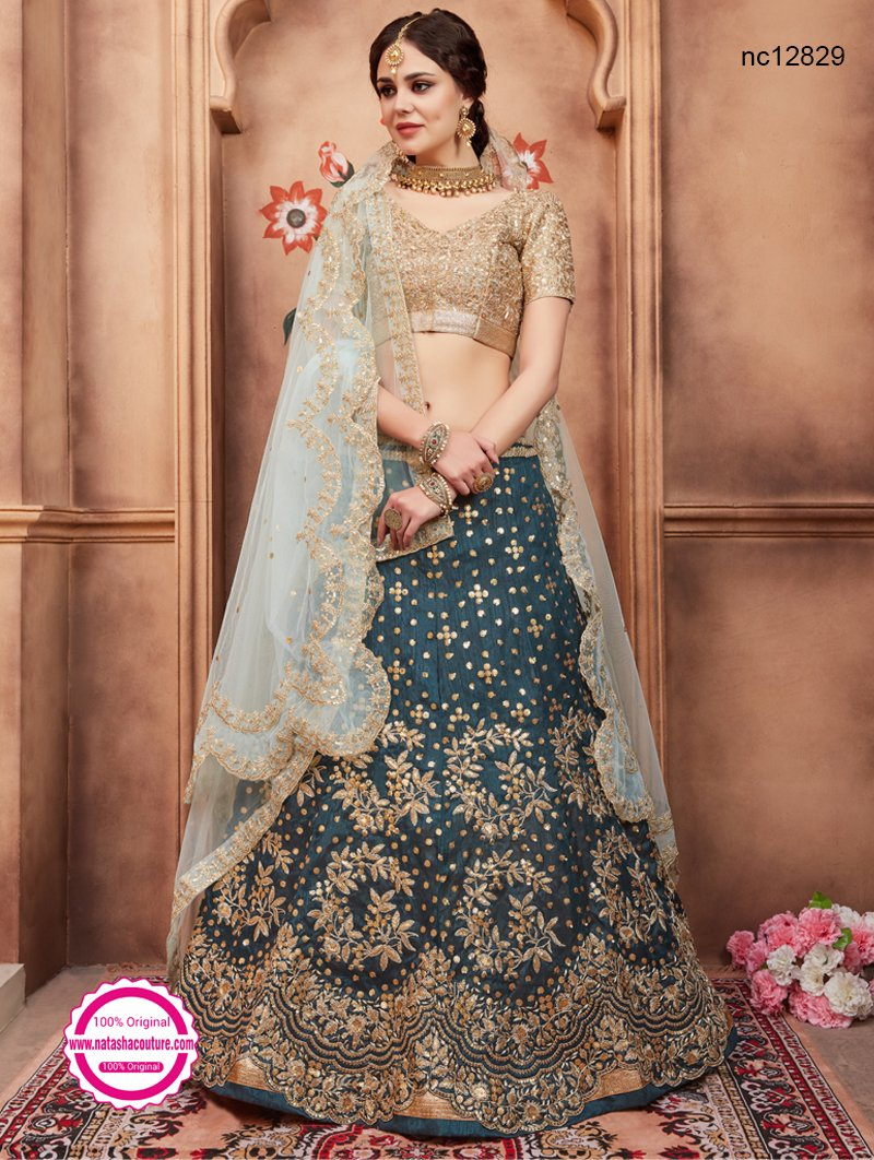 Teal Green Silk Lehenga Choli NC12829