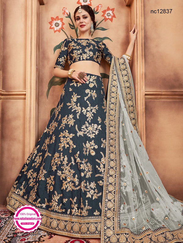 Teal Green Silk Wedding Lehenga Choli NC12837