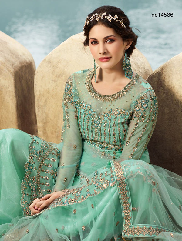 Turquoise Blue Net Lehenga & Long Top NC14586