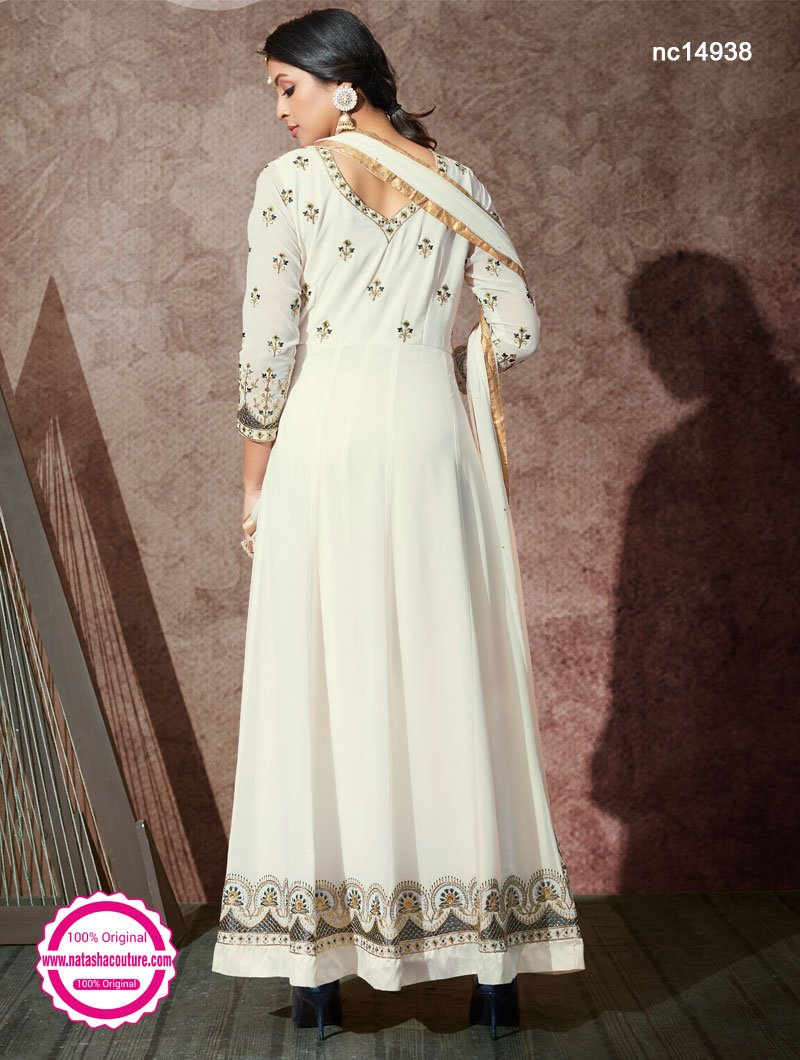 White Georgette Anarkali Suit NC14938
