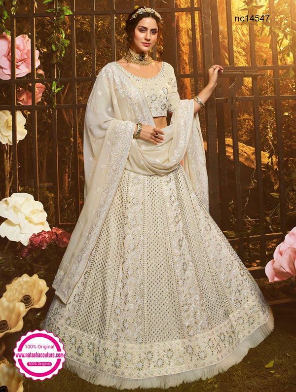 White Georgette Embroidered Lehenga Choli NC14547