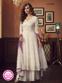 White Georgette Palazzo Suit NC14934