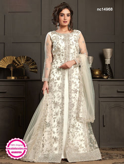 White Satin & Net Anarkali Suit NC14968
