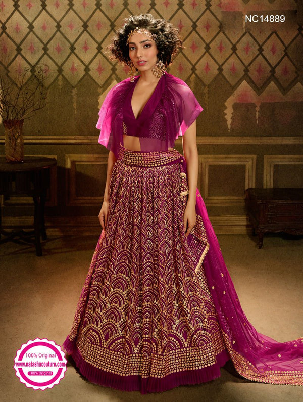 Wine Net Sequins Lehenga Choli NC14889