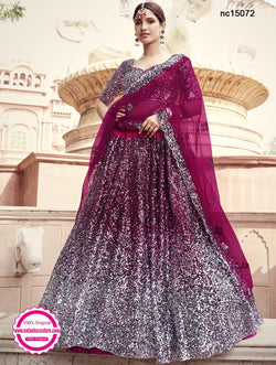 Wine Net Sequins Lehenga Choli NC15072