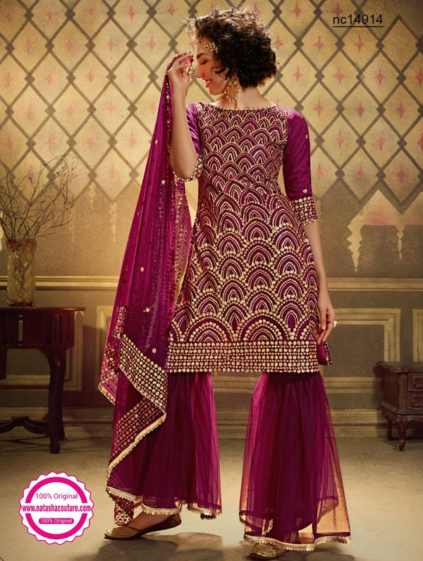 Wine Net Sharara Pants Suit NC14914