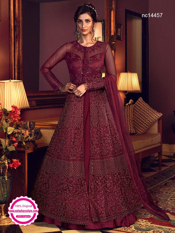 Wine Net & Silk Anarkali Lehenga NC14457