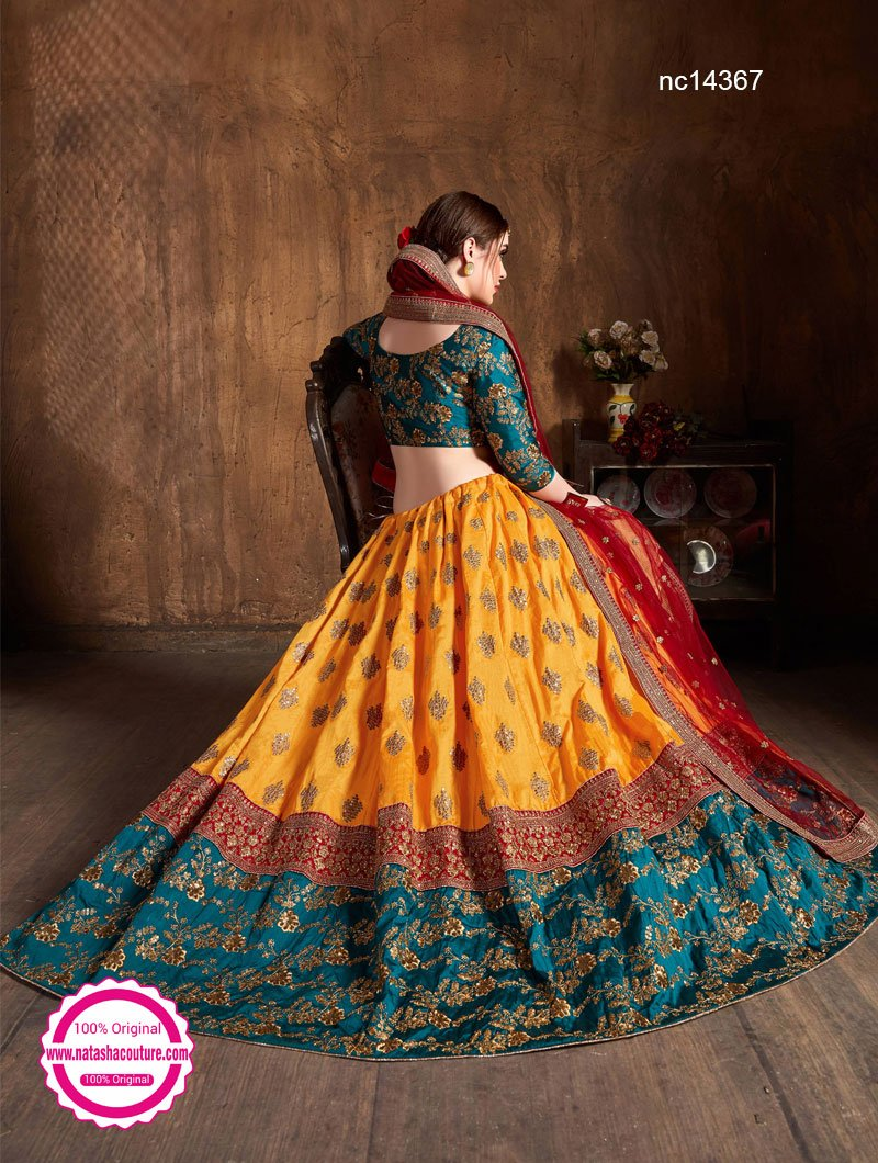 Yellow Banarasi Silk Lehenga Choli NC14367