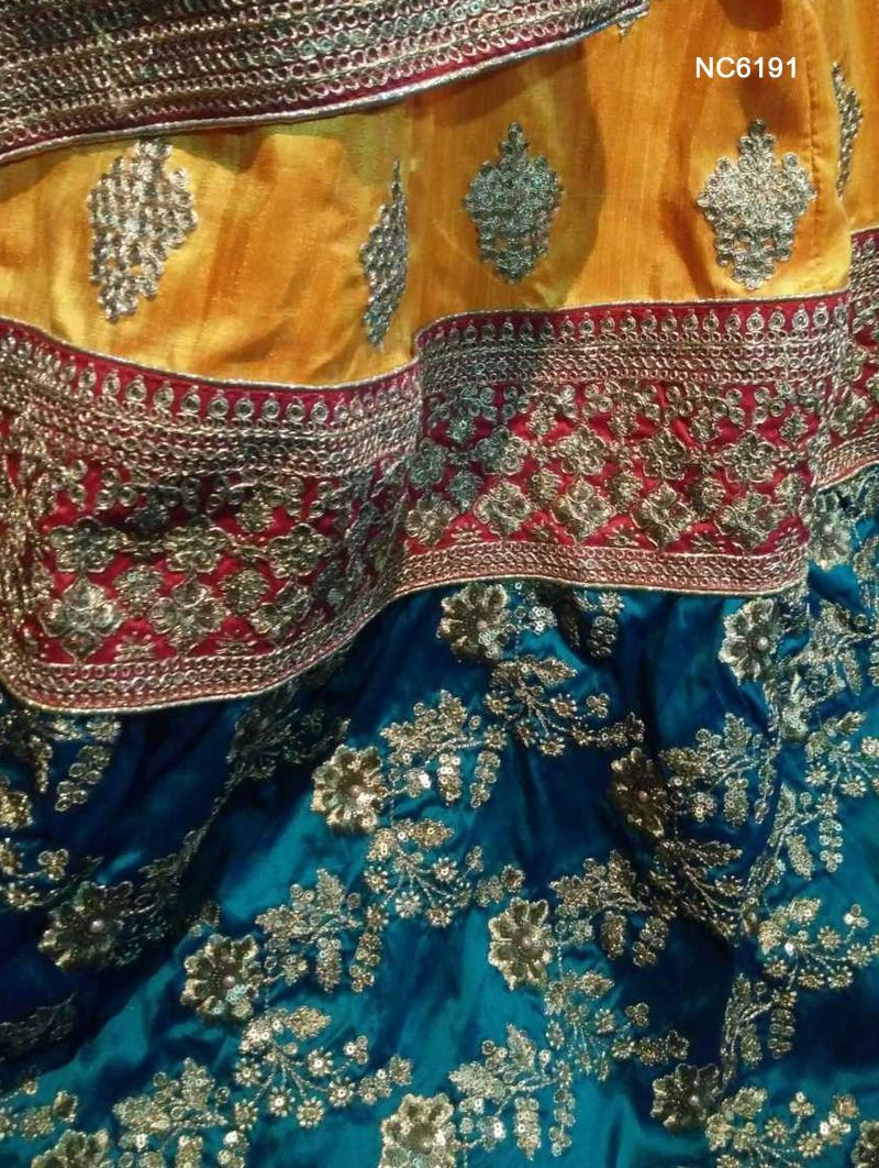 Yellow & Blue Benarasi Silk Bollywood Lehenga Choli NC6191