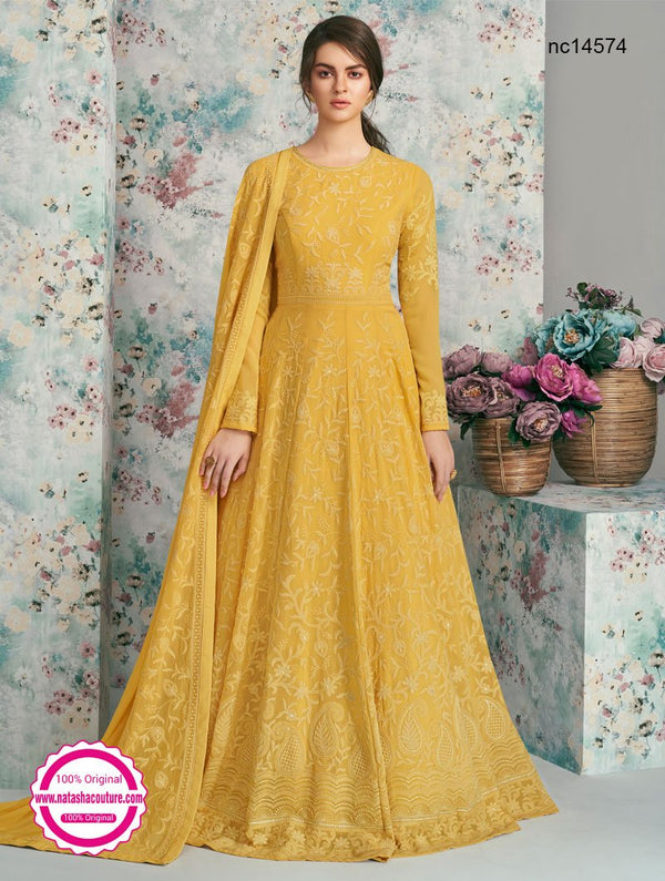 Yellow Georgette Anarkali Suit NC14574