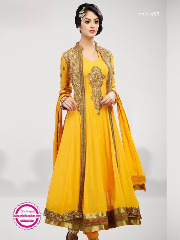 Yellow Georgette Jacket Style Anarkali NC11468