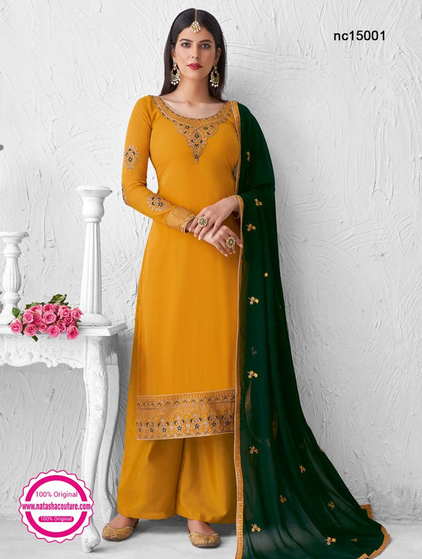 Yellow Georgette Palazzo Suit NC15001