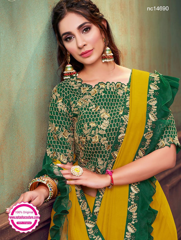 Yellow & Green Silk Georgette Saree NC14690
