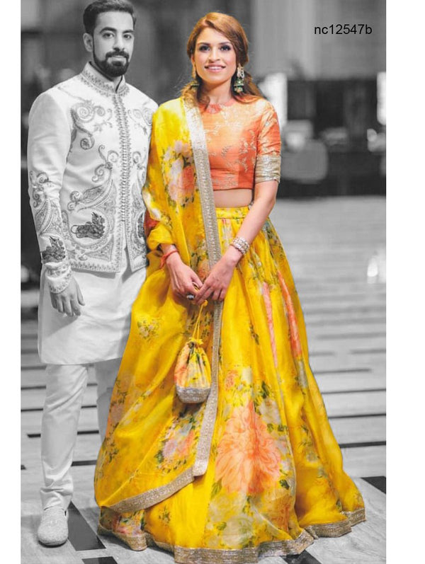 Yellow Khadi Organza Floral Bollywood Lehenga Choli NC12547B