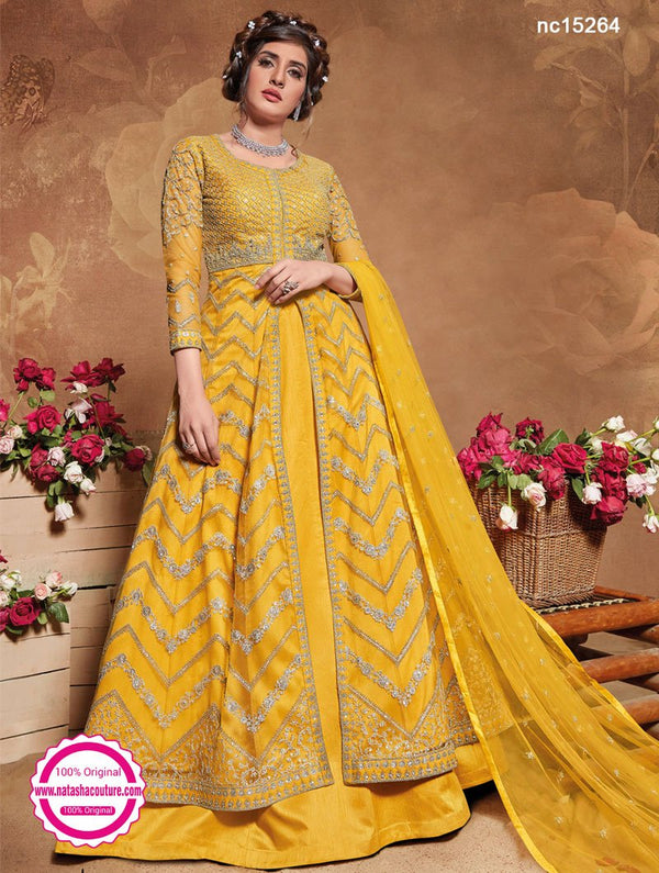 Yellow Net Anarkali Lehenga NC15264