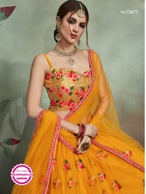 Yellow Net Designer Lehenga Choli NC13477