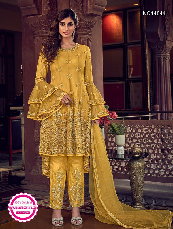 Yellow Net Pant Style Suit NC14844