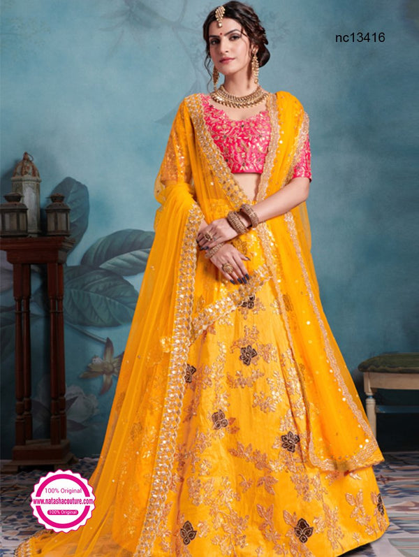Yellow & Pink Silk Lehenga Choli NC13416