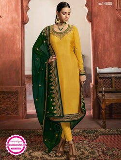 Yellow Satin & Georgette Lehenga & Pant Style Suit NC14608B
