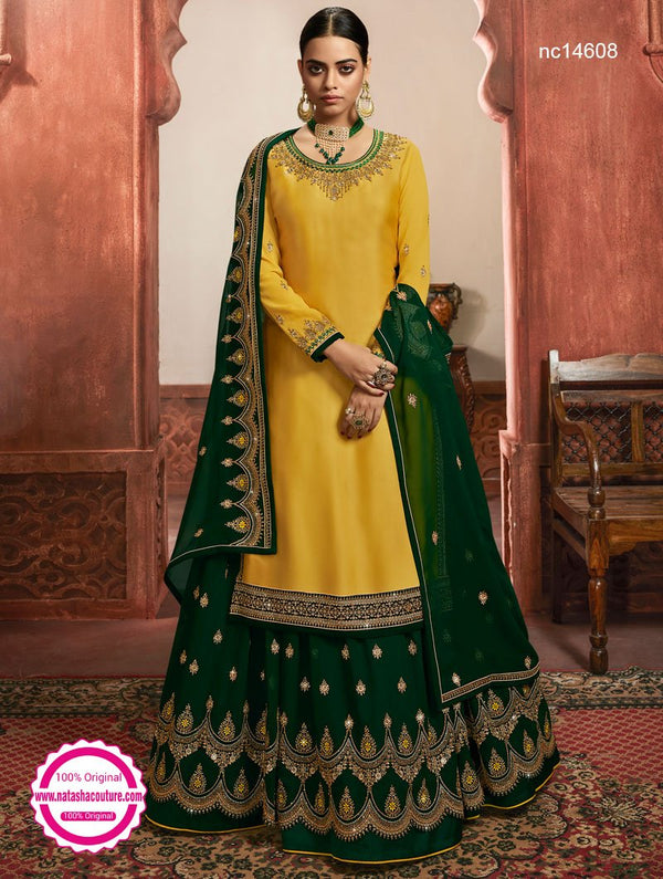 Yellow Satin & Georgette Lehenga & Pant Style Suit NC14608A
