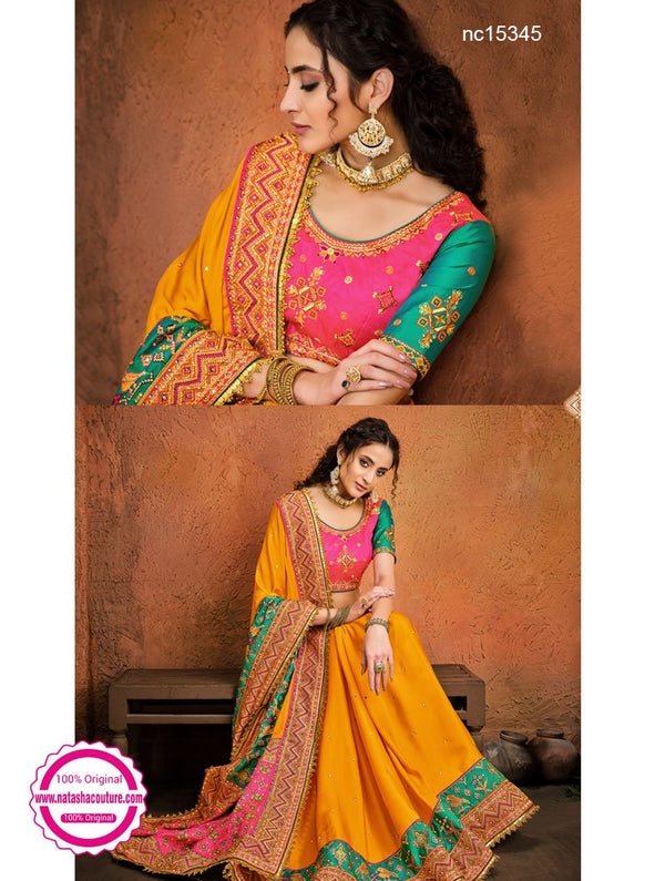 Yellow Satin Saree NC15345