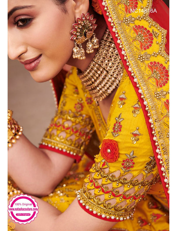 Yellow Silk Bridal Lehenga Choli NC14816A