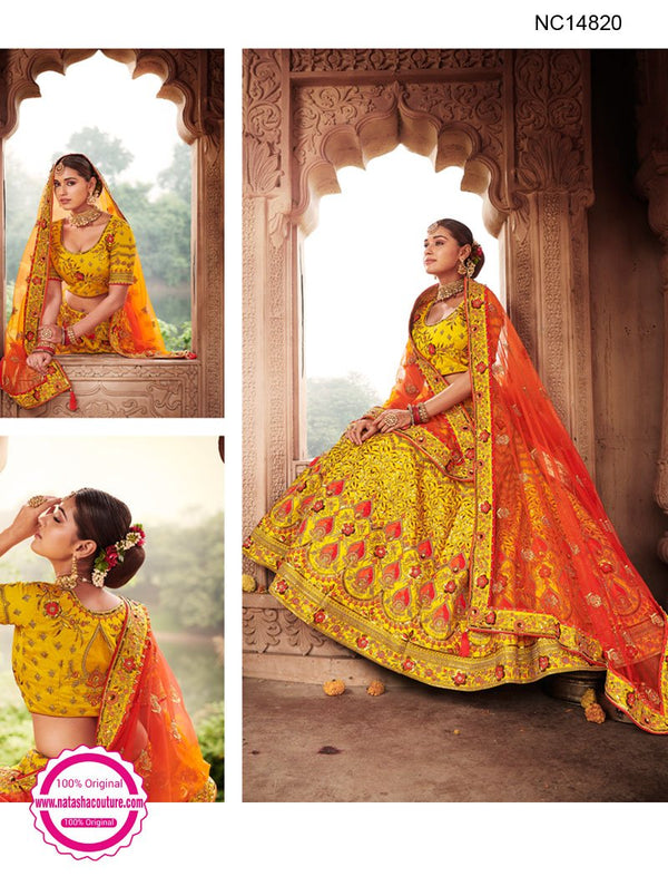 Yellow Silk Designer Lehenga Choli NC14820