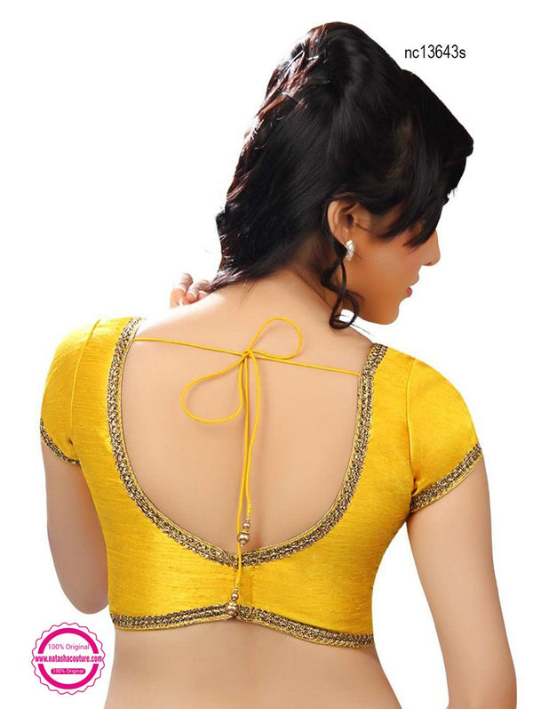 Yellow Silk Designer Readymade Blouse NC13643S