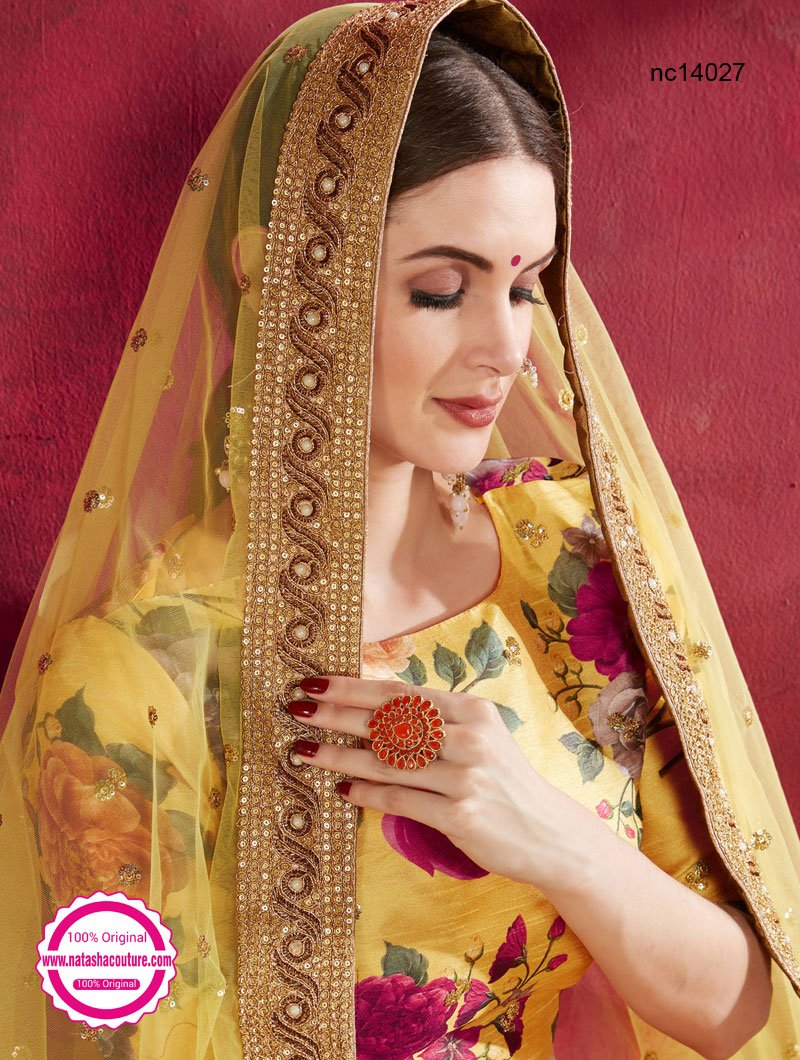 Yellow Silk Floral Lehenga Choli NC14027